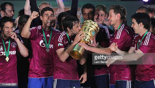 Raul of Schalke celebrates after winning the DFB Cup final match between MSV Duisburg and FC Schalke 04 at Olympic Stadium on May 21 2011 in Berlin...