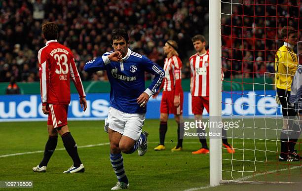 Raul of Schalke celebrates his first goal during the DFB Cup semi final match between FC Bayern Muenchen and Schalke 04 at Allianz Arena on March 2...