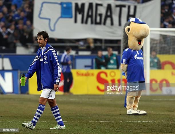 Raul of Schalke looks dejected after the Bundesliga match between FC Schalke 04 and 1 FC Nuernberg at Veltins Arena February 26 2011 in Gelsenkirchen...