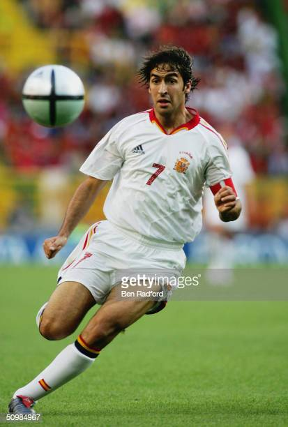 Raul of Spain chases the ball during the UEFA Euro 2004 Group A match between Portugal and Spain on June 20, 2004 at the Estadio Jose Alvalade in...