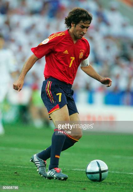 Raul of Spain in action during the Spain v Russia Group A match in the 2004 UEFA European Football Championships held at the Estadio Algarve on June...