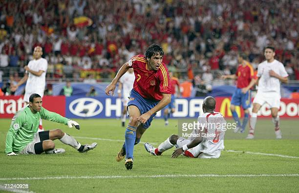 Raul of Spain turns away to celebrate after scoring his team's equaliser during the FIFA World Cup Germany 2006 Group H match between Spain and...