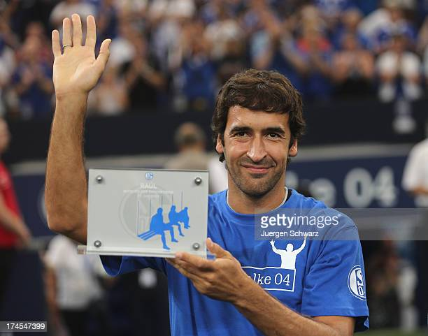 Raul poses prior to his farewell match between Schalke 04 and AlSadd Sports Club Katar at Veltins Arena on July 27 2013 in Gelsenkirchen Germany