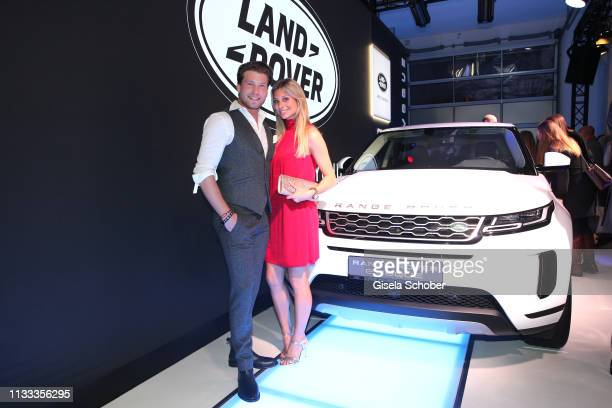 Raul Richter and his girlfriend Vanessa Schmitt during the presentation of the new Range Rover Evoque at Berlin Bridge Studios on March 28, 2019 in...