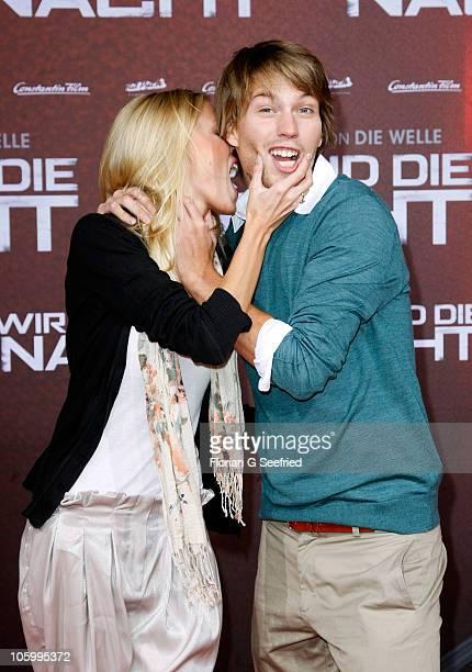 Raul Richter and model Linda Rojewska attend the 'Wir sind die Nacht' Premiere at Kino in der Kulturbrauerei on October 24 2010 in Berlin Germany