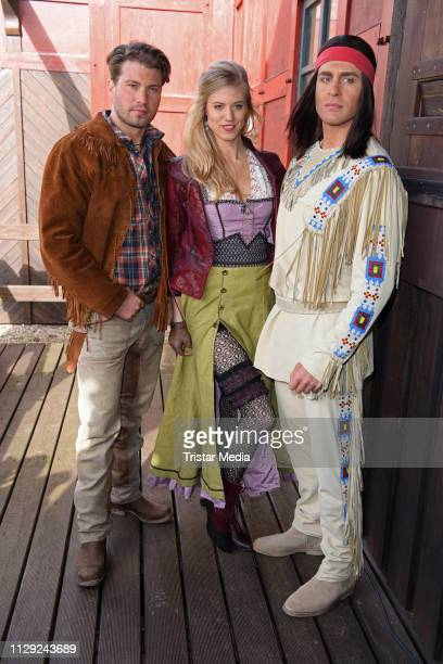 Raul Richter Larissa Marolt and Alexander Klaws attend the 'Unter Geiern Der Sohn des Baerenjaegers' photo call for the Karl May Festival on March 8...