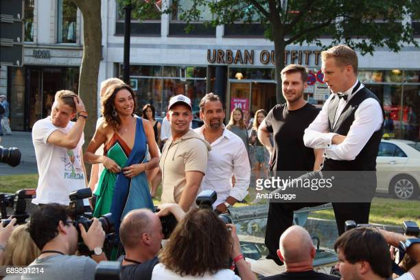 Raul Richter Lilly Becker Pietro Lombardi Ulf Kirsten Maurice Gajda and Olli Pocher attend the 'Global Gladiators' exclusive preview at Astor Film...
