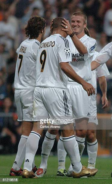 Raul Ronaldo and David Beckham during the UEFA Champions League Qualifying match between Real Madrid and Wisla Krakow at The Bernabeu on August 25...