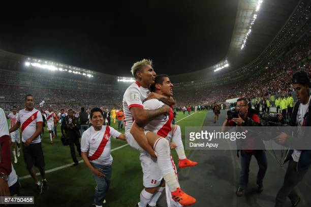 Raul Ruidiaz and ALdo Corzo of Peru celebrate after winning the second leg match between Peru and New Zealand as part of the 2018 FIFA World Cup...