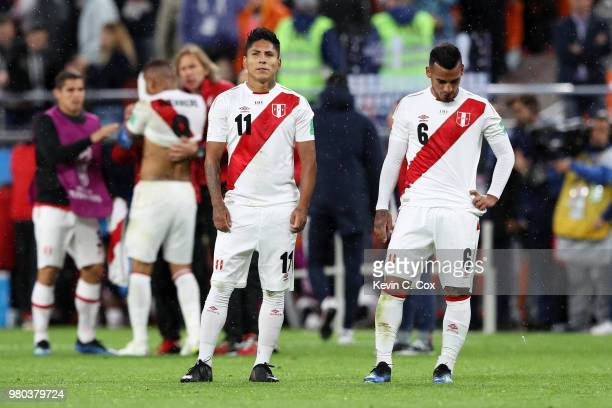Raul Ruidiaz and Miguel Trauco of Peru stand dejected following the 2018 FIFA World Cup Russia group C match between France and Peru at Ekaterinburg...