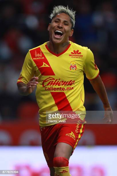 Raul Ruidiaz of Morelia celebrates after scoring the first goal of his team during a match between Toluca and Morelia as part of the Torneo Apertura...