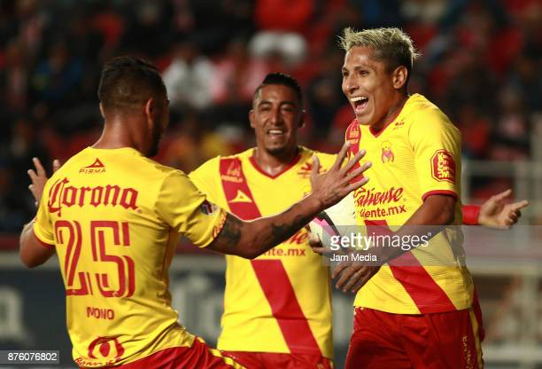 Raul Ruidiaz of Morelia celebrates after scoring the second goal of his team during the 17nd round match between Necaxa and Morelia as part of the...
