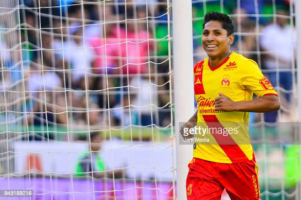 Raul Ruidiaz of Morelia celebrates after scoring the second goal of his team during the 14th round match between Leon and Morelia as part of the...