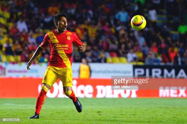 Raul Ruidiaz of Morelia looks at the ball during the 17th round match between Morelia and Necaxa as part of the Torneo Clausura 2018 Liga MX at Jose...