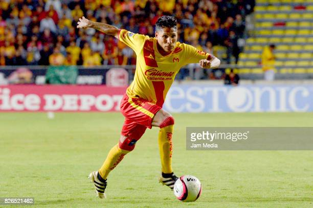 Raul Ruidiaz of Morelia plays the ball during the 3rd round match between Morelia and Santos as part of the Torneo Apertura 2017 Liga MX at Morelos...