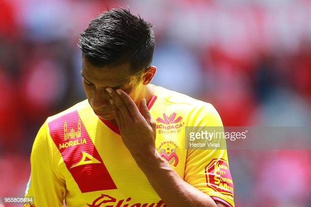 Raul Ruidiaz of Morelia reacts during the quarter finals second leg match between Toluca and Morelia as part of the Torneo Clausura 2018 Liga MX at...