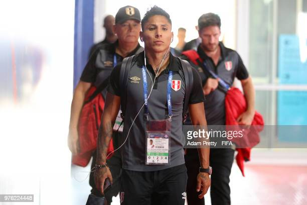 Raul Ruidiaz of Peru arrives at the stadium prior to the 2018 FIFA World Cup Russia group C match between Peru and Denmark at Mordovia Arena on June...