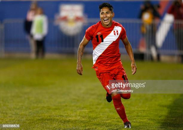Raul Ruidiaz of Peru celebrates after scoring the second goal of his team against Iceland during an International Friendly match at Red Bull Arena on...