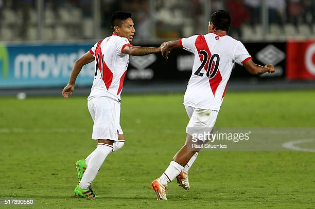 Raul Ruidiaz of Peru celebrates the second goal of his team during a match between Peru and Venezuela as part of FIFA 2018 World Cup Qualifiers at...