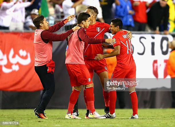 Raul Ruidiaz of Peru celebrates with teammates after defeating Brazil 1-0 in a 2016 Copa America Centenario Group B match at Gillette Stadium on June...