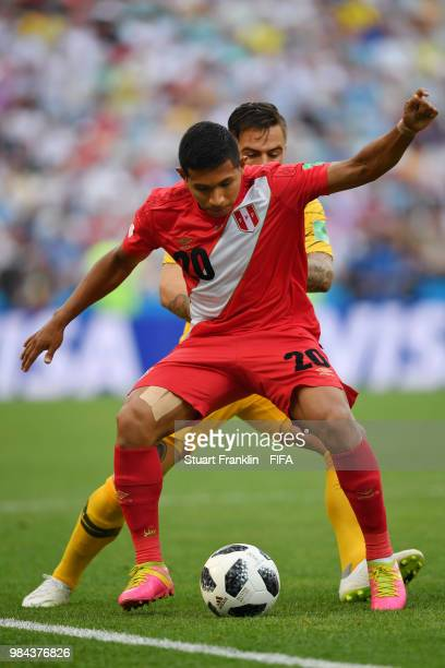 Raul Ruidiaz of Peru controls the ball during the 2018 FIFA World Cup Russia group C match between Australia and Peru at Fisht Stadium on June 26...
