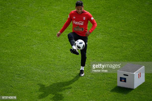 Raul Ruidiaz of Peru controls the ball the ball during a training session at Arena Khimki on June 12 2018 in Khimki Russia