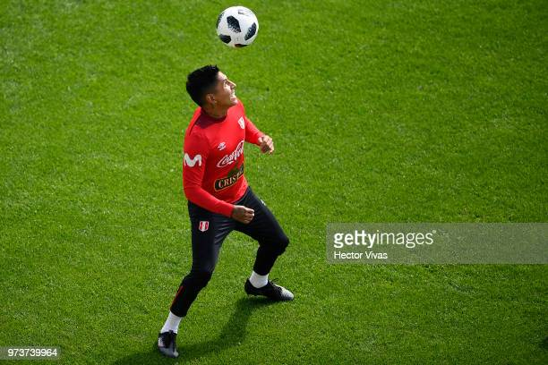Raul Ruidiaz of Peru heads the ball during a training session at Arena Khimki on June 12 2018 in Khimki Russia
