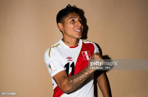 Raul Ruidiaz of Peru poses for a portrait during the official FIFA World Cup 2018 portrait session on June 11 2018 in Moscow Russia