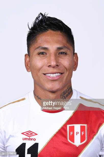 Raul Ruidiaz of Peru poses for a portrait during the official FIFA World Cup 2018 portrait session at the Team Hotel on June 11, 2018 in Moscow,...
