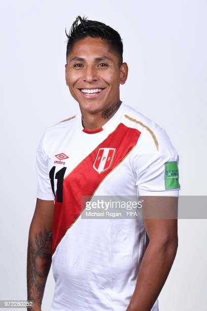 Raul Ruidiaz of Peru poses for a portrait during the official FIFA World Cup 2018 portrait session at the Team Hotel on June 11 2018 in Moscow Russia
