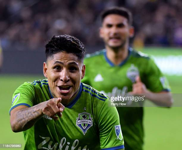 Raul Ruidiaz of Seattle Sounders celebrates his goal against Los Angeles FC to take a 31 lead during the second half during the Western Conference...