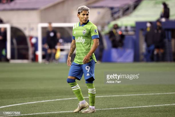 Raul Ruidiaz of Seattle Sounders looks on in the first half against FC Dallas during their Western Conference Semifinals game at Lumen Field on...