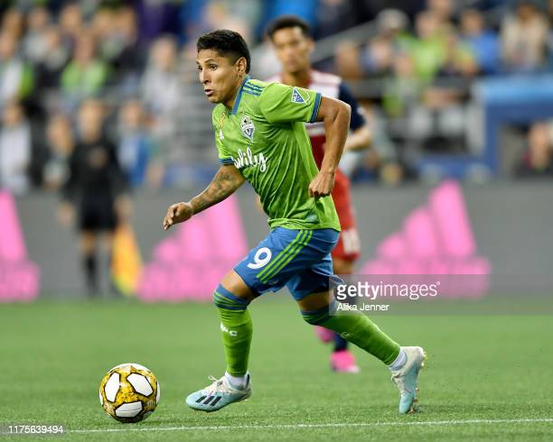 Raul Ruidiaz of Seattle Sounders moves the ball during the match against the New York Red Bulls at CenturyLink Field on September 18, 2019 in...