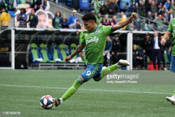 Raul Ruidiaz of the Seattle Sounders FC takes a shot during a game between Toronto FC and Seattle Sounders FC at CenturyLink Field on November 10,...