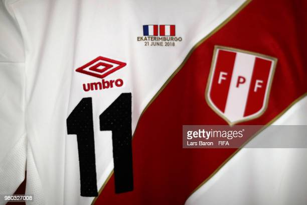 Raul Ruidiaz shirt hangs in the Peru dressing room prior to the 2018 FIFA World Cup Russia group C match between France and Peru at Ekaterinburg...
