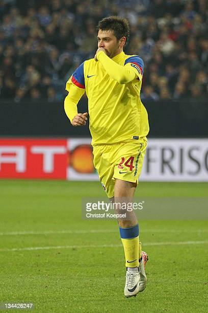 Raul Rusescu of Bucuresti celebrates the first goal during the UEFA Europa League group J match between FC Schalke 04 and FC Steau Bucuresti at...