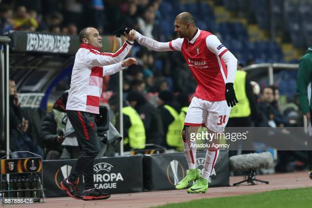 Raul Silva of Braga celebrates after scoring a goal during UEFA Europa League Group C soccer match between Medipol Basaksehir and Braga at the Fatih...