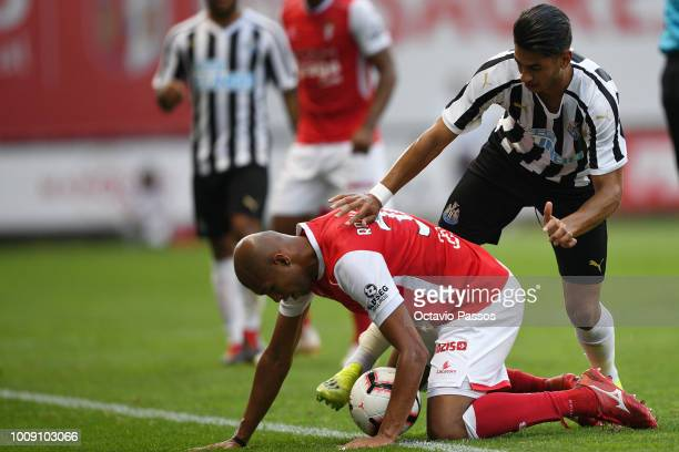 Raul Silva of SC Braga competes for the ball with Ayoze Perez of Newcastle during the Preseason friendly between SC Braga and Newcastle on August 1...