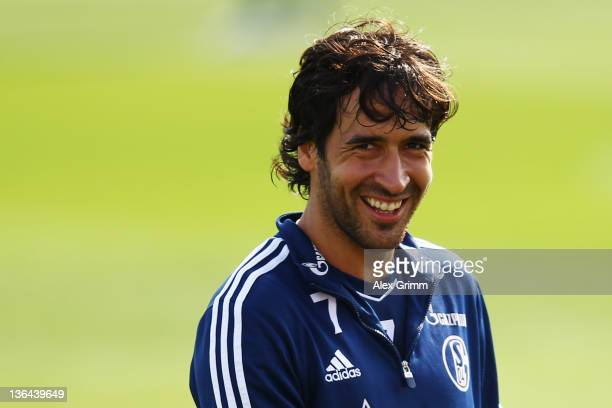 Raul smiles during a training session of Schalke 04 at the ASPIRE Academy for Sports Excellence on January 5 2012 in Doha Qatar