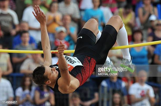 Raul Spank of Germany competes in the Men's High Jump event at the Zlata Tretra athletic meeting on May 31 2011 in the eastern Czech city of Ostrava...