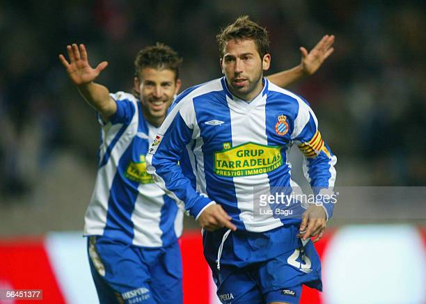 Raul Tamudo of Espanyol celebrates his goal with Luis Garcia during the Primera Liga game between RCD Espanyol and Real Zaragoza on December 18 at...