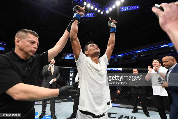 Raulian Paiva of Brazil celebrates his TKO victory over Mark De La Rosa in their flyweight bout during the UFC Fight Night event at Santa Ana Star...
