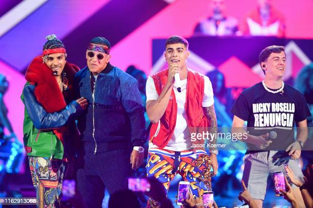 Rauw Alejandro Daddy Yankee Lunay and Guaynaa perform on stage during Premios Juventud 2019 at Watsco Center on July 18 2019 in Coral Gables Florida