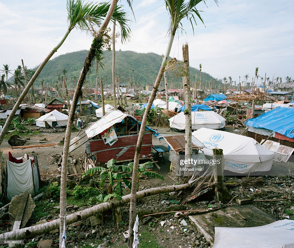 Ravaged village after typhoon : Stock Photo