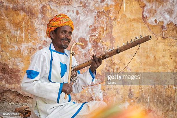 ravanahatha player, jaipur, india - indian music stock photos and pictures