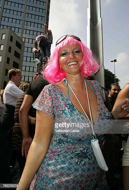 Rave supporter attends the Loveparade as 1.2 million people do in Essen to celebrate the first parade in the rhine area.