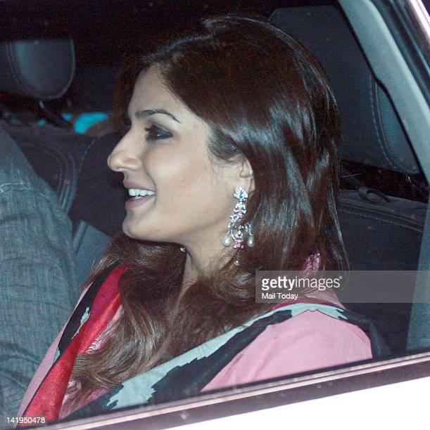 Raveena Tandon arrives at a party thrown by industrialist Mukesh Ambani to honour Sachin Tendulkar at his residence Antilia in Mumbai