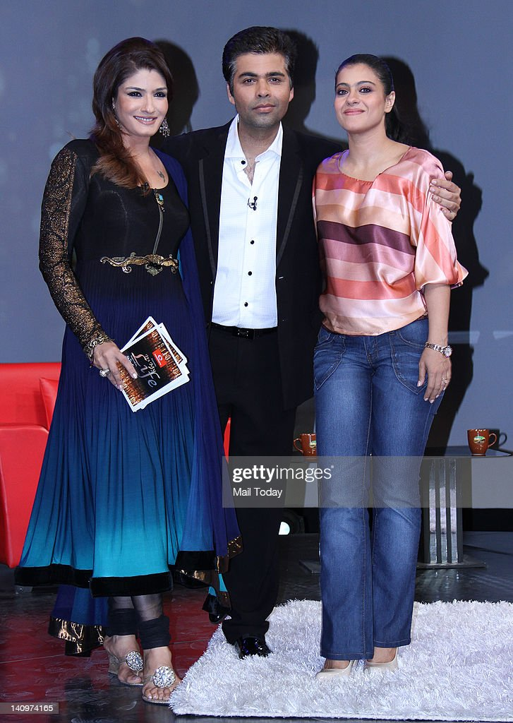 Raveena Tandon Karan Johar and Kajol on the sets of show Issi Ka Naam Zindagi