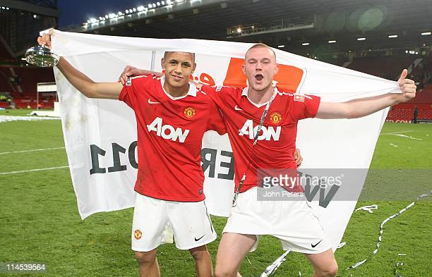 Ravel Morrison and Ryan Tunnicliffe of Manchester United Academy Under18s celebrate with the FA Youth Cup trophy after the FA Youth Cup Final Second...