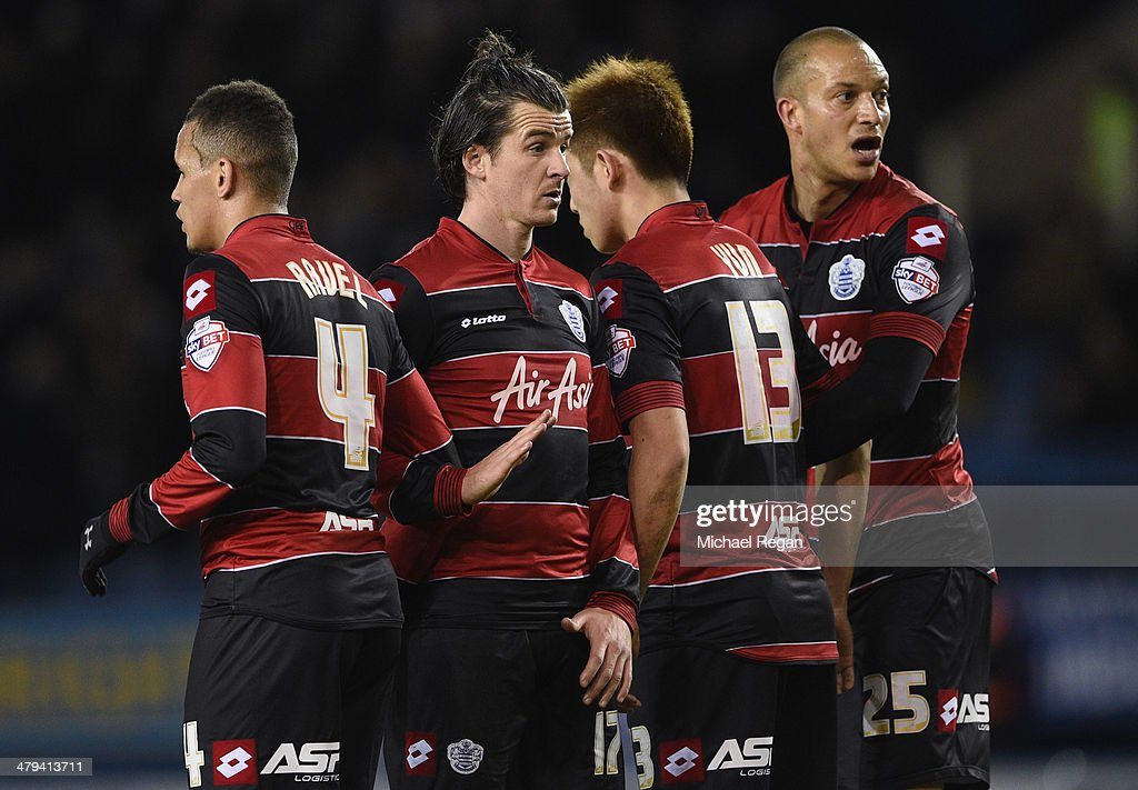 Ravel Morrison, Joey Barton, Yoon Suk-Young and Bobby Zamora of QPR form a wall during the Sky Bet Championship match between Sheffield Wednesday and Leeds United at Hillsborough Stadium on January 11, 2014 in Sheffield, England,